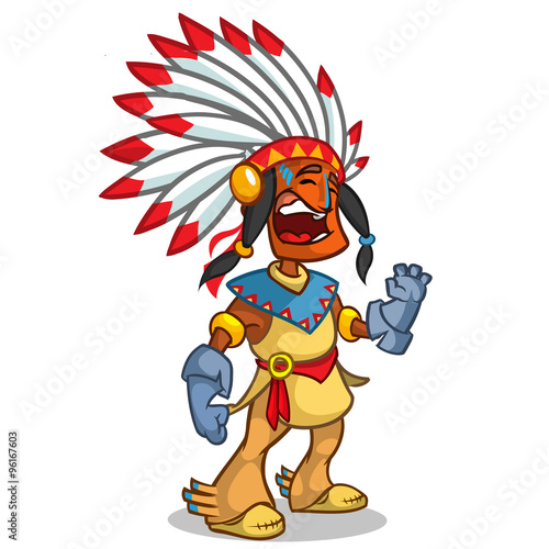 In de dag Indiërs A happy cartoon Native American standing and smiling