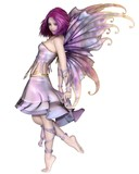 Pretty Purple Fairy  Fantasy Illustration Wall Sticker