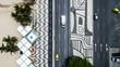 Quadro Top View of Copacabana beach with mosaic of sidewalk in Rio de Janeiro. Brazil