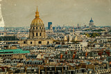 Old postcard with aerial view of Dome des Invalides, Paris, Fran