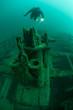 Scuba Diver and Shipwreck in Lake Michigan