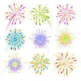 Fototapety Fireworks celebration collection for holiday design.