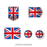 UK flag ribbon vector set