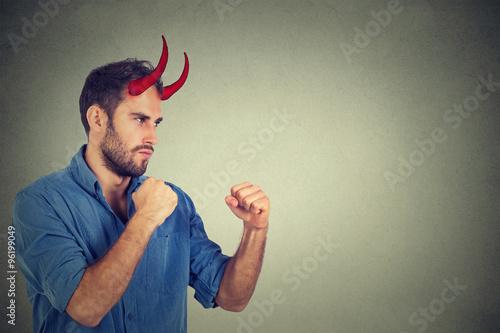 Evil man fighting Poster