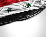Syria waving flag on white background