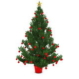 Christmas Tree Decorated with Red Baubles Isolated on White Background