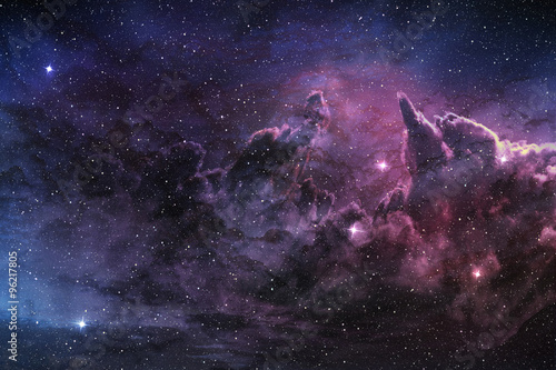 Poster purple nebula and cosmic dust in star field