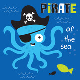 pirate of the sea octopus vector illustration