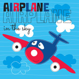 cute airplane in the sky vector illustration