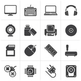 Black Computer peripherals and accessories icons - vector icon set