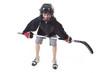 hockey player over white background
