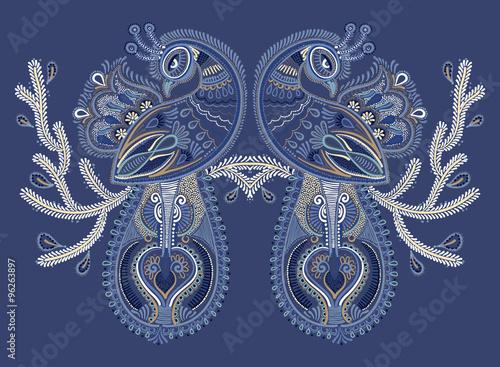 Fototapeta ethnic folk art of two peacock bird with flowering branch design