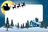 Xmas frame featuring silhouette of Santa Claus flying with sleigh at night over xmas snowy landscape
