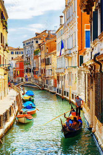 Tourists traveling in gondola, Rio Marin Canal, Venice, Italy