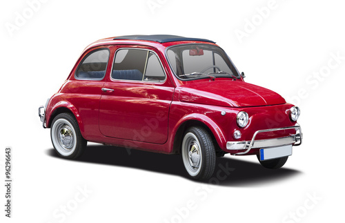 Classic Italian supermini car isolated on white
