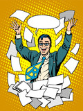 Fototapety Business success happy businessman among the papers