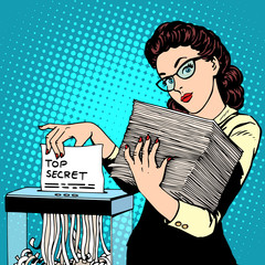 Paper shredder top secret document destroys the Secretary
