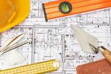 stavební prvky uspořádány na plány domu