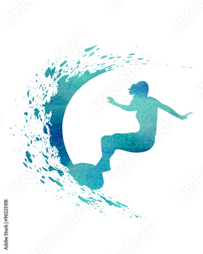 Blue Watercolor Surfer surf wave illustration