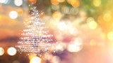 Fototapety Christmas tree of stars on bokeh lights background