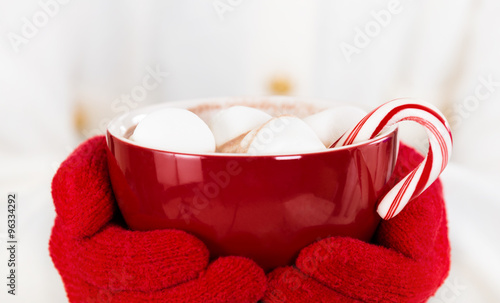 Papiers peints Chocolat Red gloved hands holding a red cup of hot chocolate with marshmallows and a candy cane