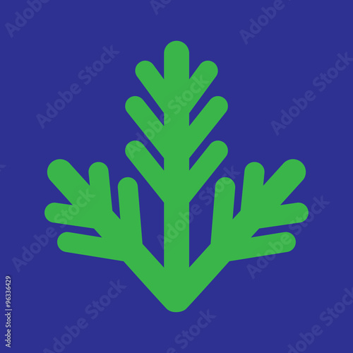 Foto op Canvas Violet flat icon on blue background fur-tree branch