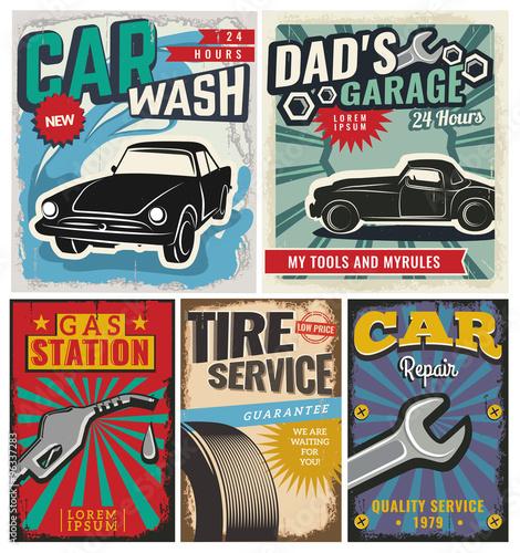 Fotobehang Pop Art Vintage set of vector cars for advertising