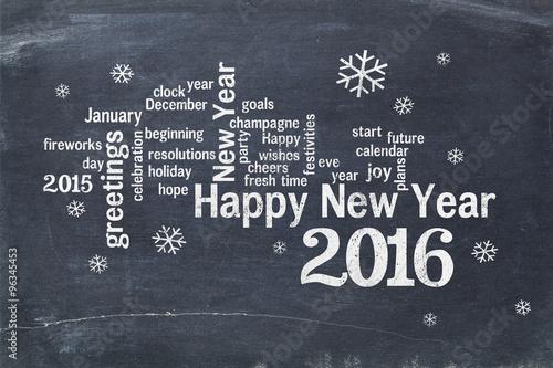 Happy New Year 2016 on blackboard