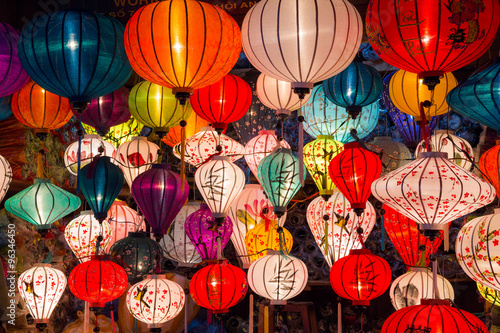 Poster Paper lanterns on the streets of old Asian  town