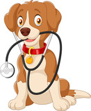 Cute dog sitting with stethoscope