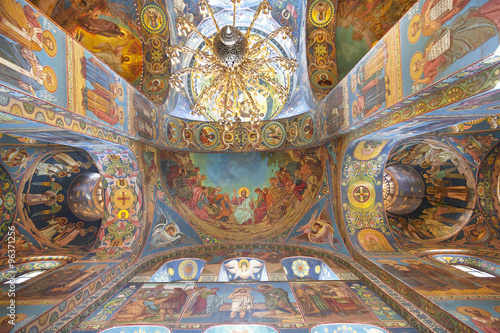 Interior of the Church of the Savior on Spilled Blood in St. Petersburg, Russia.