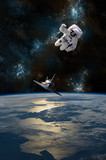 An astronaut drifting in space is rescued by a space shuttle - Elements of this Image Furnished by NASA.
