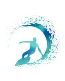 Fototapety Blue Watercolor Illustration of a Surfer with a wave