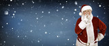 real Santa Claus on snow background