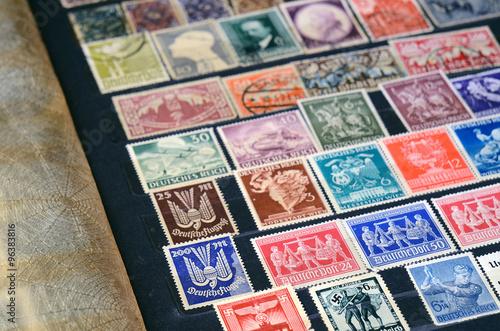 Plagát, Obraz Album with old postage stamps