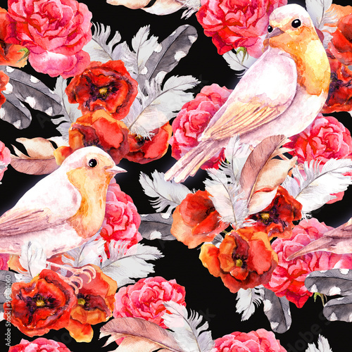 Seamless floral pattern with poppy, rose and birds. Watercolour - 96384060