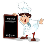 Cartoon cook with menu sign for restaurant. Illustration, vector