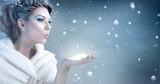 Winter woman  blowing snow - snow queen - 96391899