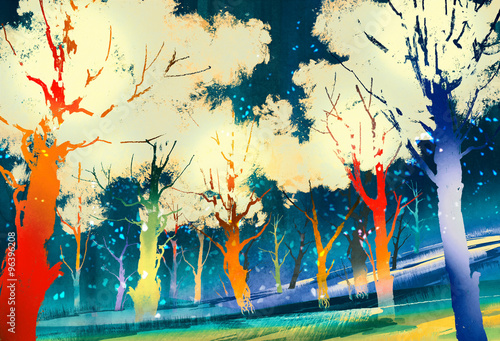 fantasy forest with colorful trees,landscape digital painting - 96396208