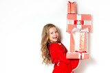 Happy girl with red gift boxes