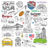 Fototapety New York city doodles elements. Hand drawn set with, taxi, coffee, hotdog, burger, statue of liberty, broadway, music, coffee, newspaper, manhatan bridge, central park. Doodle collection, isolated
