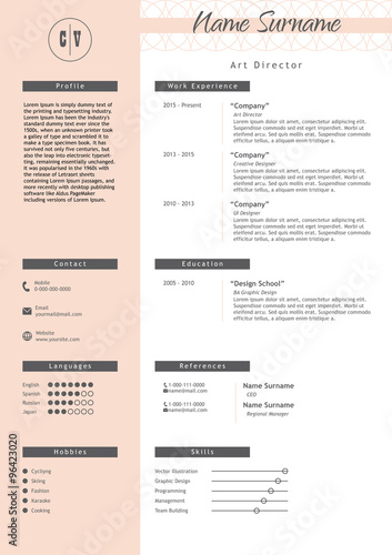 quot vector creative resume template minimalist style cv
