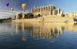 Obrazy na płótnie, fototapety, zdjęcia, fotoobrazy drukowane : Majorca cathedral and hot air balloon
