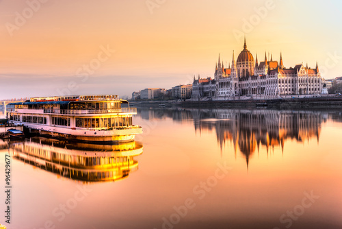 Poster Budapest parliament at sunrise, Hungary