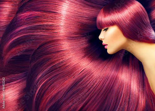Beautiful hair. Beauty woman with long red hair as background