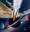 Shuttle rocket ship launch solar system astronomy saturn planet outer space. Elements of this image furnished by NASA.