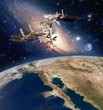 Earth satellite solar system astronomy space station iss meteorology orbit. Elements of this image furnished by NASA.