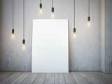 Blank white canvas with glowing bulbs in the loft interior.