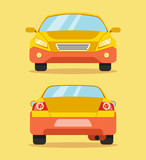 Fototapety Car front and rear. Vector flat illustration