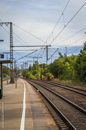 Deurstickers Eisenbahn bahnsteig schienen transport